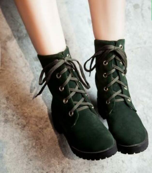 Womens Suede Lace Up Combat Vintage Retro Mid Calf Boots Chunky Heel shoes