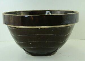 Vintage-Yellow-Ware-Stoneware-Crock-Mixing-Bowl-Primitive-Pottery-Brown-Glaze