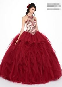 2ee135006a Image is loading Burgundy-Green-Beaded-Tulle-Puffy-Quinceanera-Dress -Birthday-