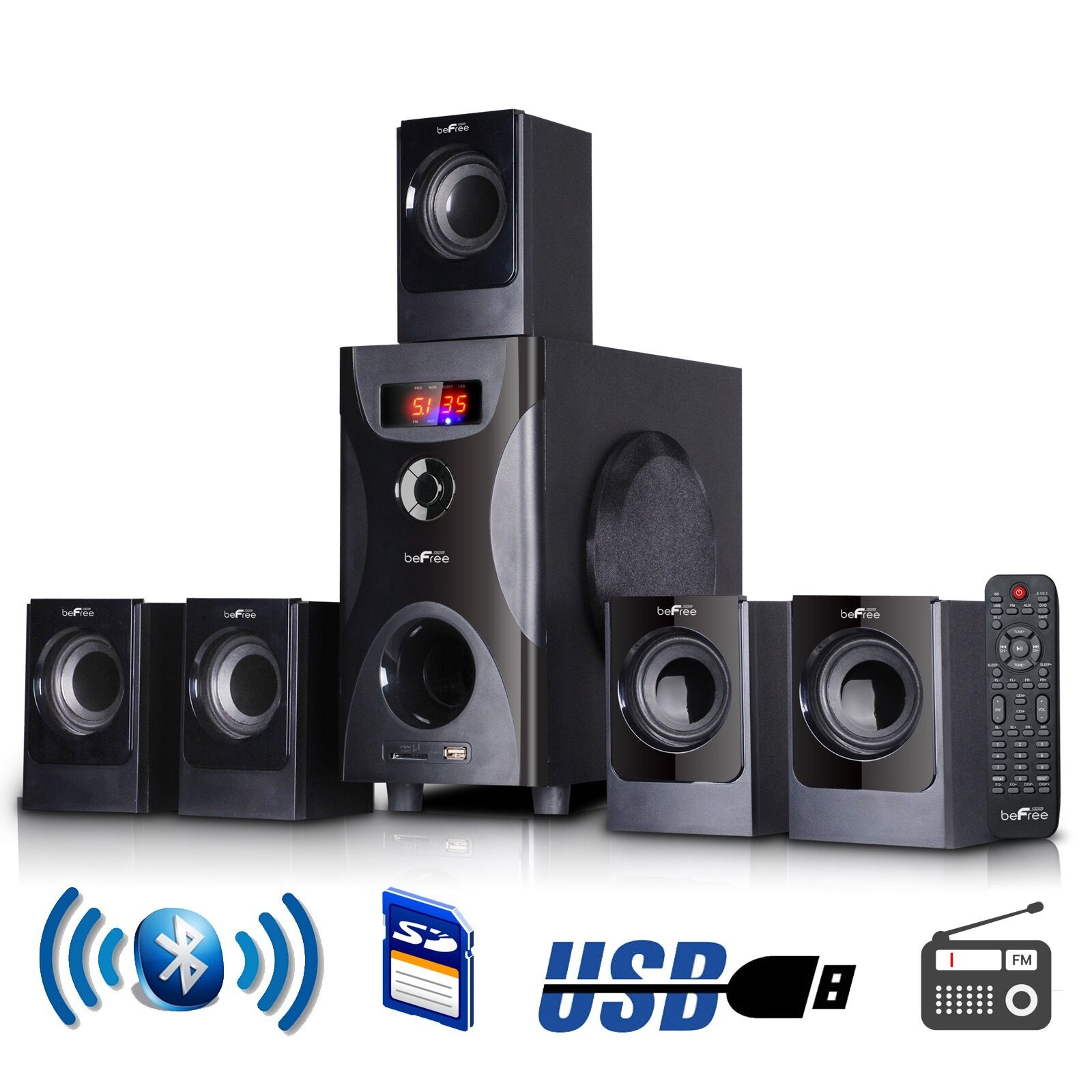 bluetooth befree sound bfs425 5 1 channel surround sound speaker system in black 13964973617 ebay. Black Bedroom Furniture Sets. Home Design Ideas