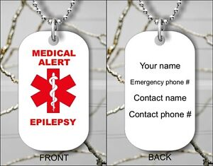 Medical alert epilepsy emergency personalized dog tag pendant image is loading medical alert epilepsy emergency personalized dog tag pendant mozeypictures Images