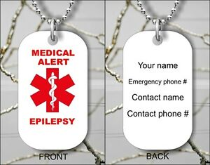 Medical alert epilepsy emergency personalized dog tag pendant image is loading medical alert epilepsy emergency personalized dog tag pendant aloadofball Image collections