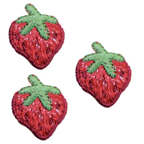 Mini Strawberry Applique Patch 3-Pack, Small, Iron on