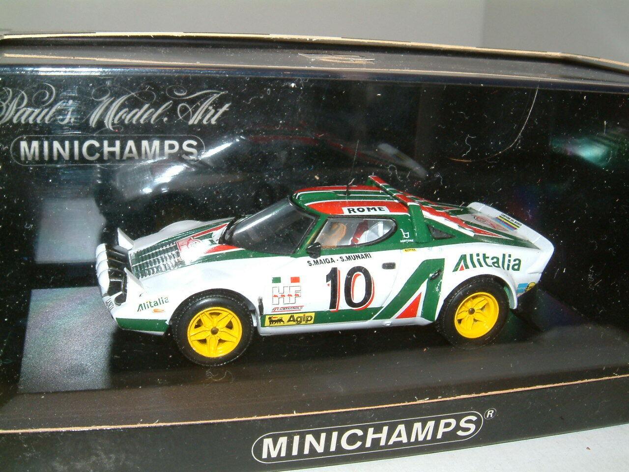 1 43 LANCIA STRATOS 1976 MONTE voitureLO RALLY WINNER  `ALITALIA` MUNARI. MINICHAMPS  jusqu'à 42% de réduction