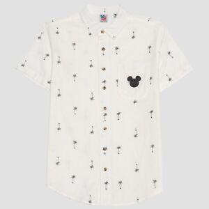 Men-039-s-Mickey-Mouse-Short-Sleeve-Palm-Tree-Print-Button-Down-Shirt-White-XL