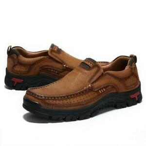 men leather casual shoes breathable hiking antiskid