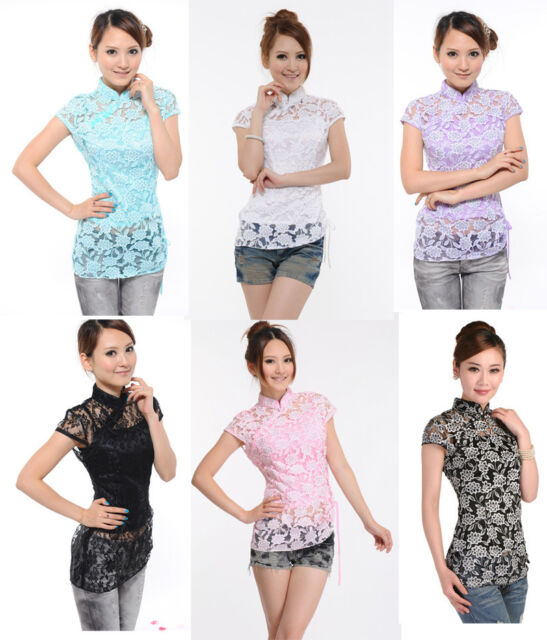 New Chinese Women Classical Mini Short Sleeve Lace Floral Blouse/Top/T-Shirt