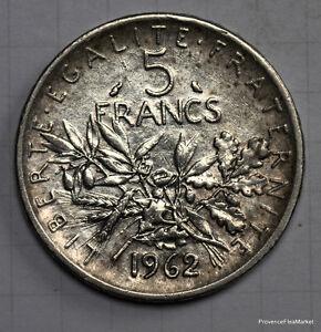France Piece Argent 5 Franc Semeuse 1962 Voir Scan Haute Definition