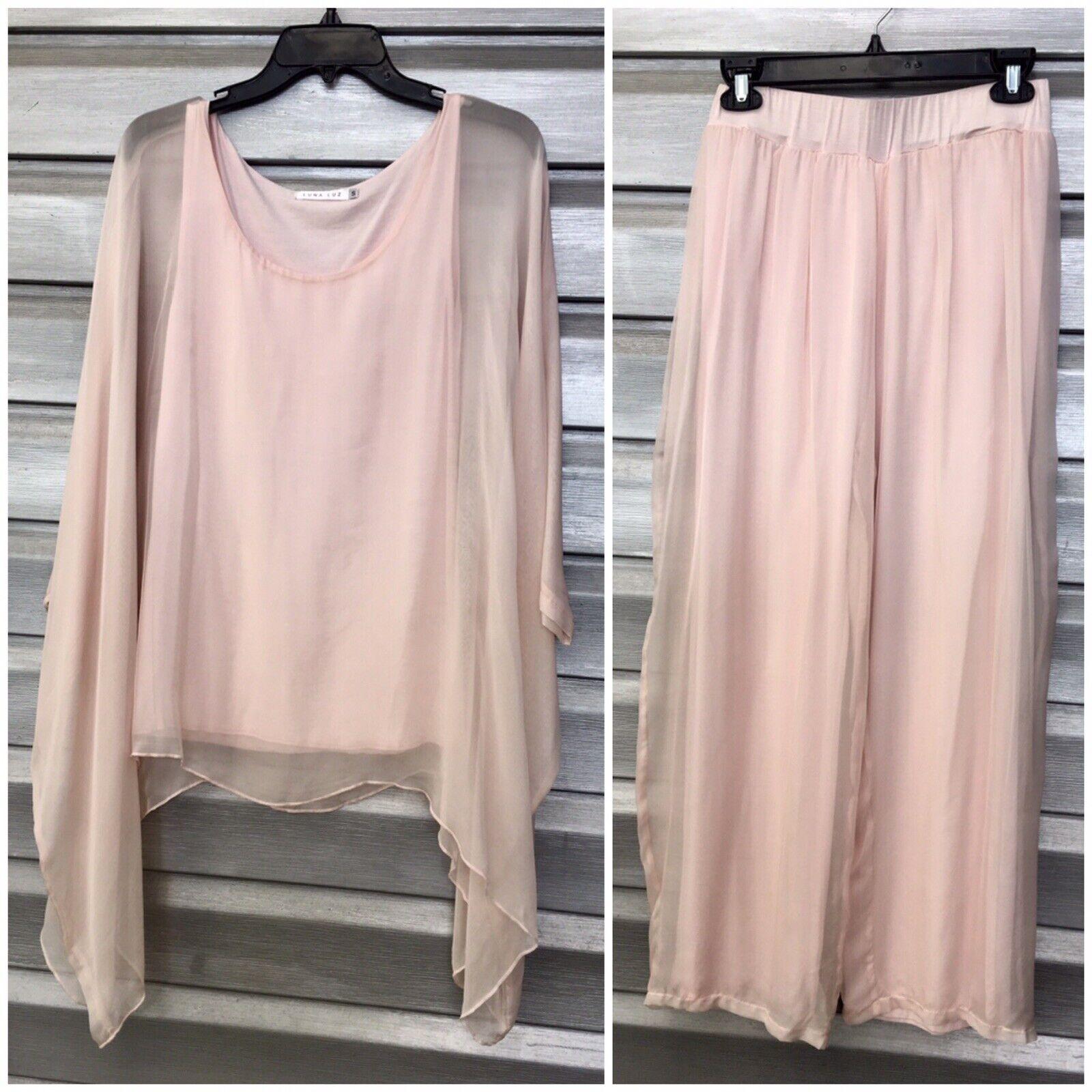 LUNA LUZ Rosa Silk Top Wide Leg Palazzo Pants Set