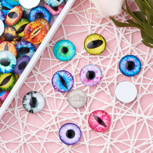10pcs Eye Half Round//Dome Printed Glass Cabochon Mixed Color 25x7mm Scrapbooking