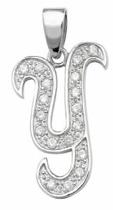 Sterling Silver Cubic Zirconia Set Initial Pendant