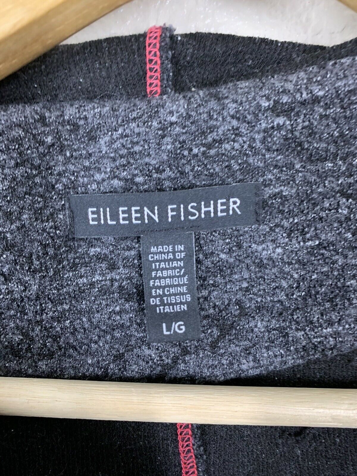 Eileen Fisher Large L Textured Knit Vest Hooded A… - image 2
