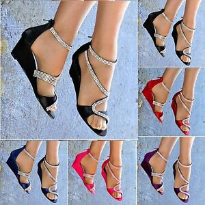 WOMENS-SATIN-MID-WEDGE-HEEL-DIAMANTE-DETAIL-STRAPPY-PEEP-TOE-EVENING-PARTY-SHOES