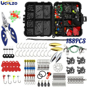 188Pcs Fishing Accessories Kit Set with Tackle Box Pliers Jig Hooks Bullet Tools