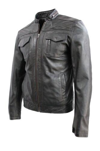 da da in uomo vera vera nera stile Giacca motociclista uomo casual deluxe in pelle pelle xtOgdnUFwq