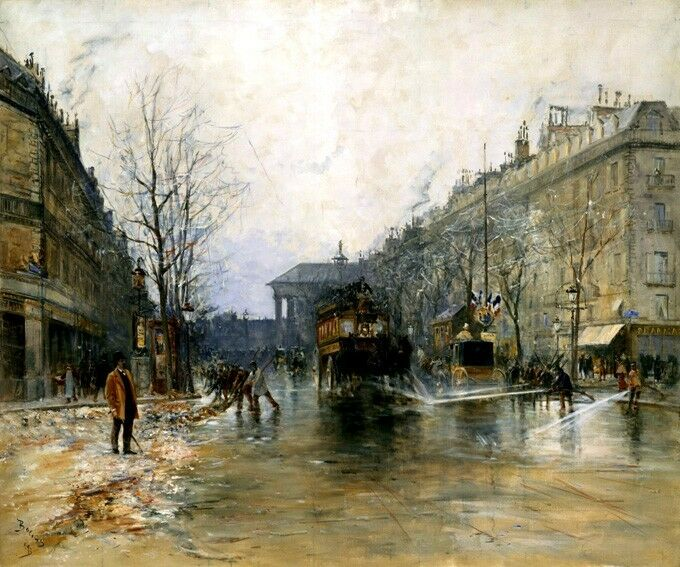 PARIS STREET SCENE WASHING 1893 FRENCH PAINTING BY FRANK MYERS BOGGS REPRO
