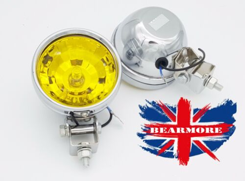 MOTORCYCLE HALOGEN SPOT FOG LIGHTS LAMPS COME WITH BULBS & BRACKET YELLOW