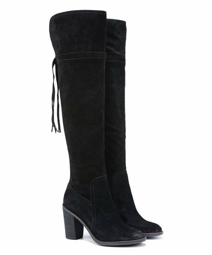 Franco Sarto Sarto Sarto Over the Knee Eckhart Suede Tassel Boots Black 9.5  225 39a4fa