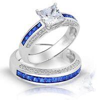 Princess Simulated Diamond Blue Sapphire Engagement Ring & Band Set