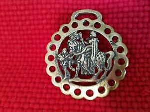 Vintage-Brass-Horse-Harness-Bridle-Medallion-Roman-Soldier-on-Horse-105