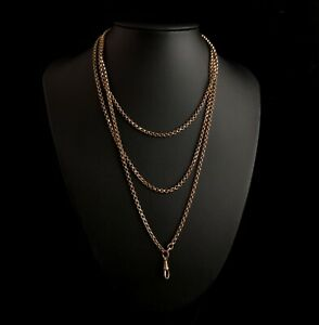 Antique Victorian longuard chain, muff chain necklace, rose rolled gold