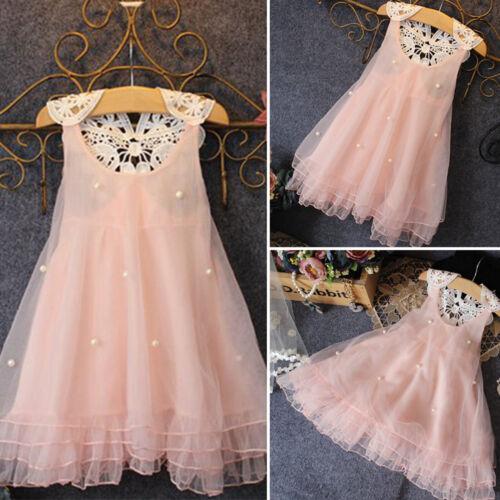 Girls Kids Flower Princess Dress Sleeveless Lace Prom Wedding Bridesmaid Dresses
