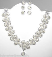 Faux Pearl Crystal Necklace Earrings Set Bridal Wedding Prom Party