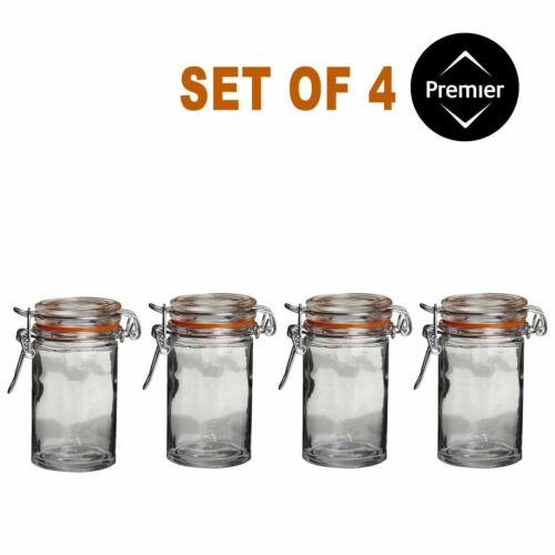 Clip Top Set of 4 Round Glass Jars Kitchen Spice Herb Jam Container