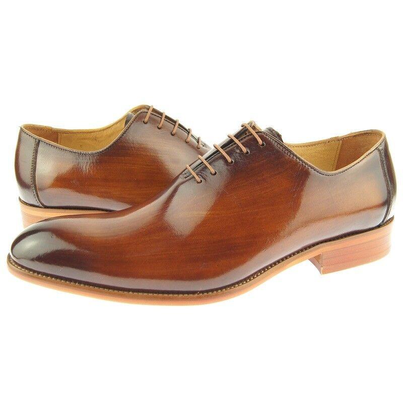 Carrucci Plain Toe Wholecut Oxford, Men's Dress Leather shoes, Cognac 7US