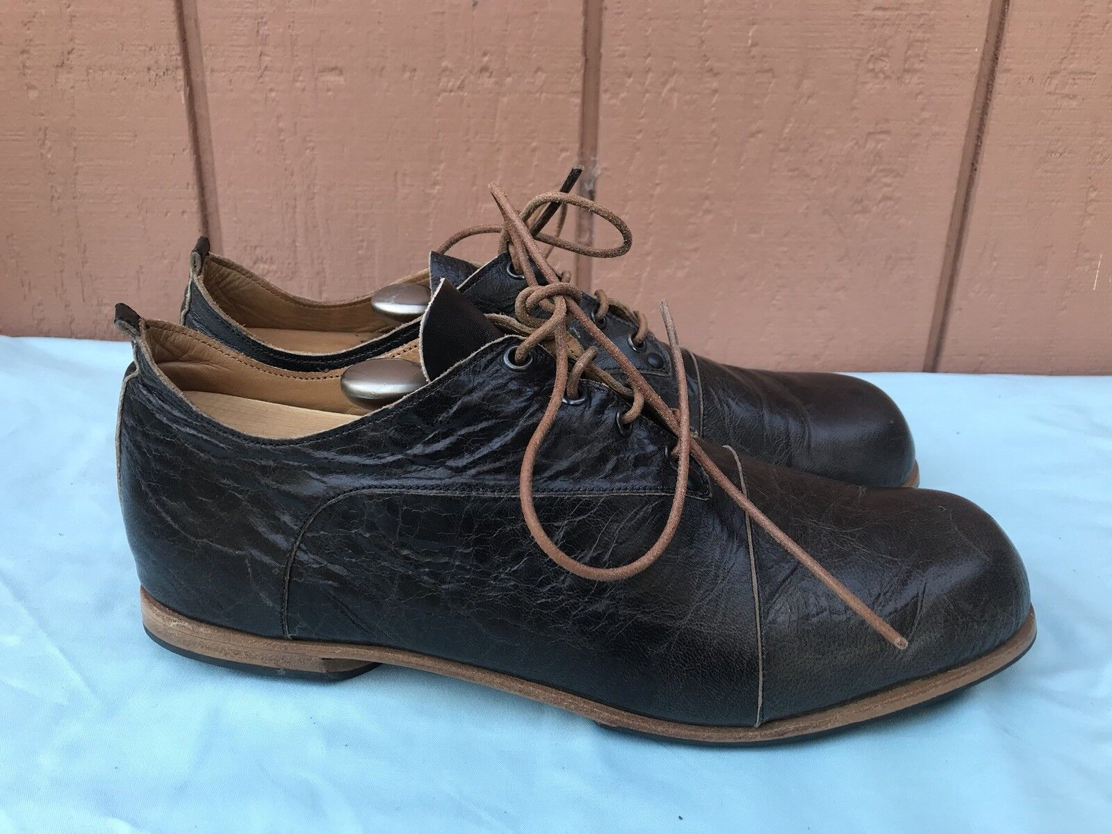 RARE EUC CYDWOQ 45 Men's US 11 Brown Leather Lace Up Bumper shoes Sneaker AY