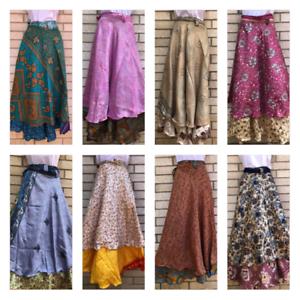 Indian Silk Wrap Vintage Skirt Women Handmade Two Layer Boho Skirt 5 PCs lot 02