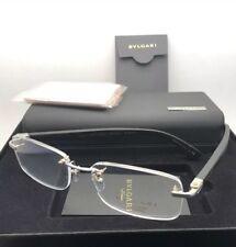f052cbf0d9a BVLGARI Eyeglasses 1086-T-K 394 Silver Gold Plated Black Rimless Titanium  w Wood