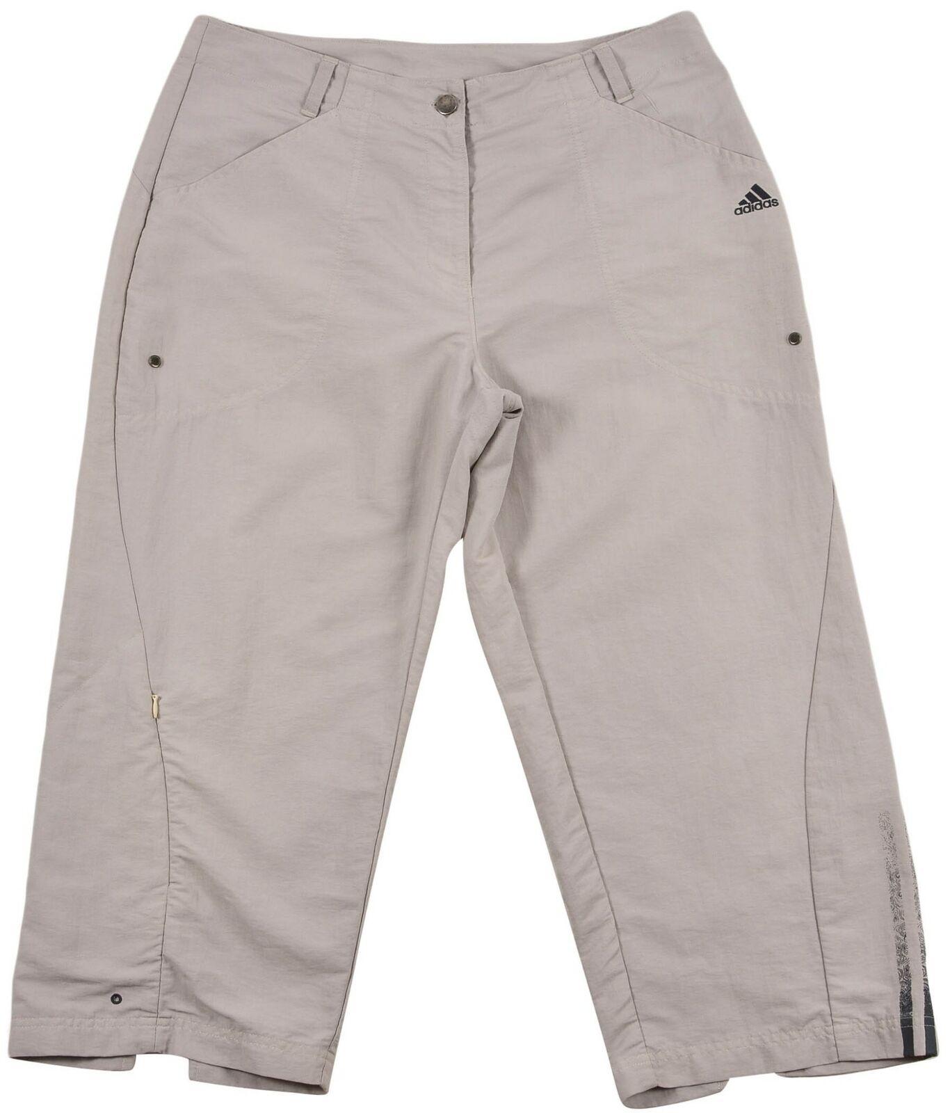 Adidas 3 Streifen Damen Locker Capri Hose Shorts Größe UK-18 US14 Beige Original