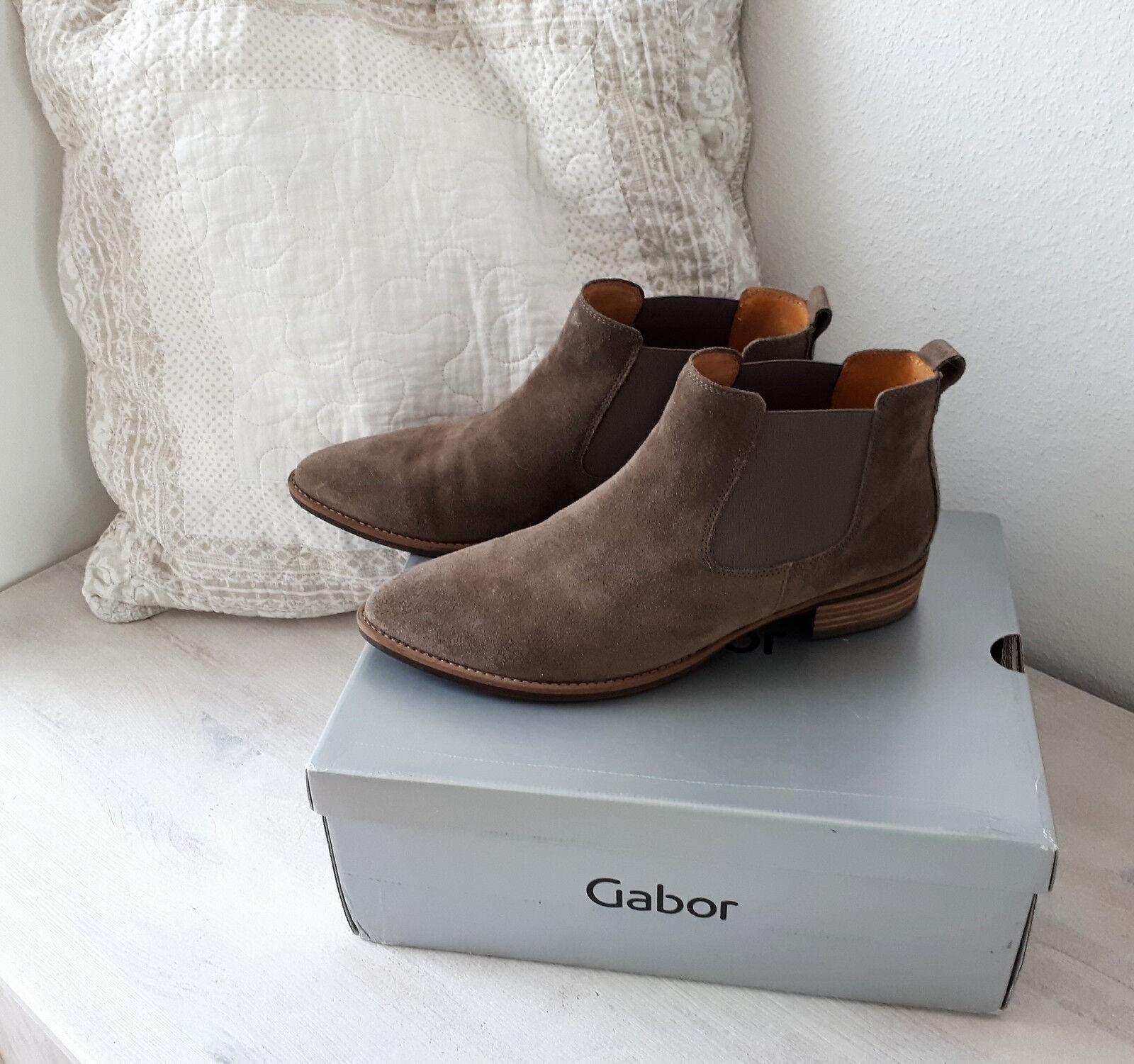 GABOR Bootie Ankle Chelsea Stiefelette taupe Leder 40 -  6 1/2 Leder Schuhe
