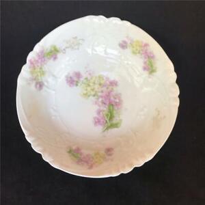 Antique-Continental-Emobssed-Floral-Porcelain-Serving-Bowl-Purple-amp-Green