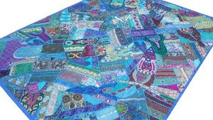 Quilt-Patchwork-Blue-King-Handmade-Bed-cover-Turquoise-Bedspread-India-Boho