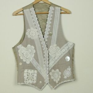 Vintage-Hand-Embellished-Lace-Crochet-Vest-Boho-Granny-Tan-Cream-Large-44-034