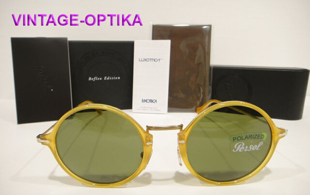 PERSOL 3091SM SUNGLASSES Color (204P1) YELLOW / GREEN POLARIZED LENS 3091-SM NEW