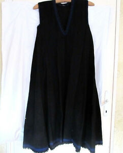 OLD PRIMITIVE WOMENs HAND WOVEN WOOLEN LONG PINAFORE DRESS BLACK