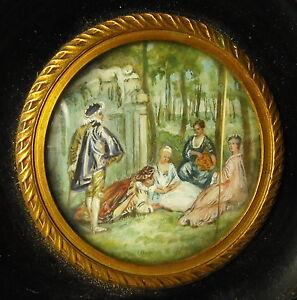 """Symbole De La Marque Miniature Signée C 1900 D'après Antoine Watteau """" Les Champs élysées """" Doux Et Doux"""