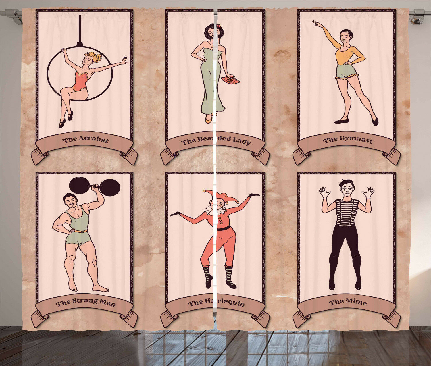 Vintage Circus Character Lady Man Acrobat Gymnast Artprint Curtain 2 Panels Set