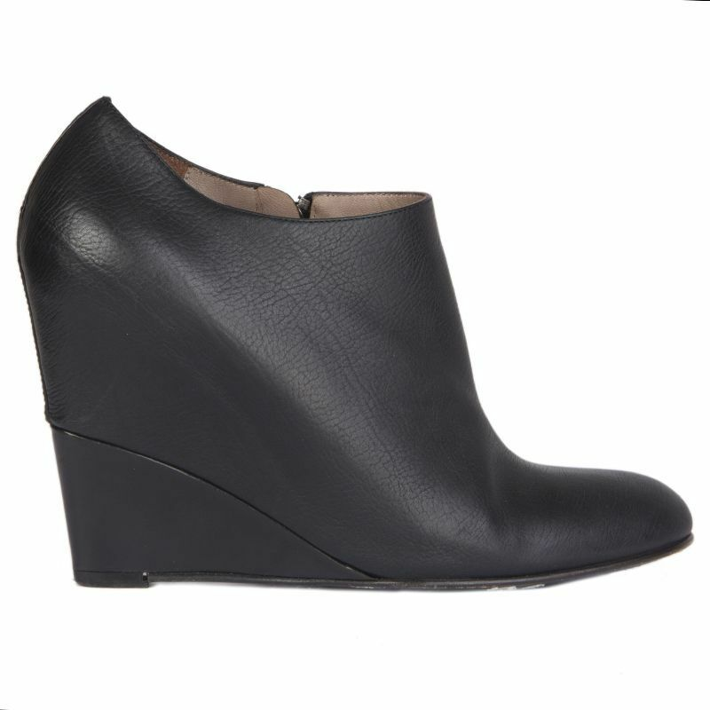 54784 auth JIL SANDER black Wedge Ankle Boots Shoes 37.5