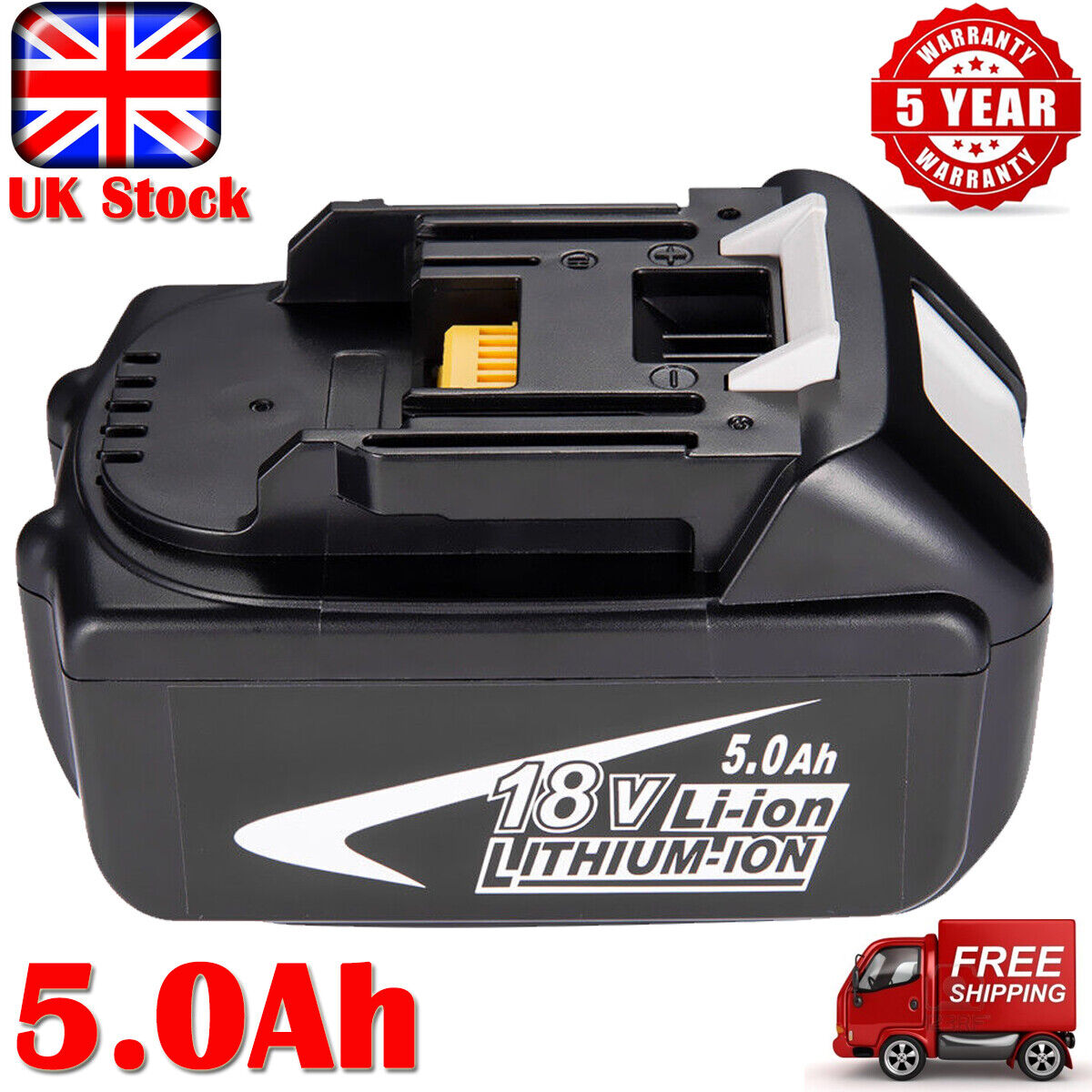 18V For Makita BL1850 18 Volt 5.0Ah LXT Li-Ion Cordless Battery BL1860 BL1830 UK