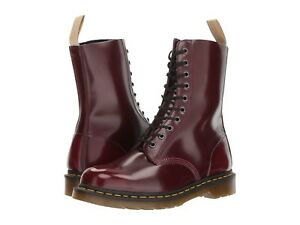 NEW-Mens-Dr-Martens-1490-10-Eyelet-Cherry-Red-Smooth-Leather-Boots-New-In-Box