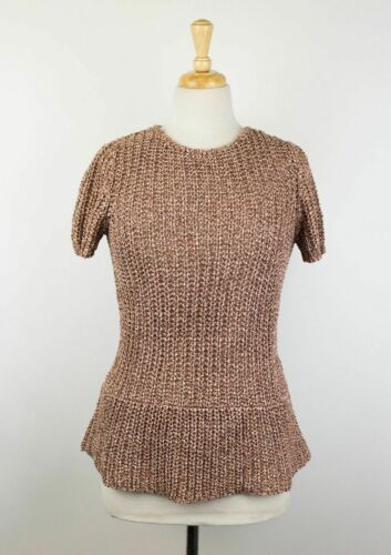 NWT BRUNELLO CUCINELLI Brown Cotton Short Sleeve Cable Knit Sweater Size M