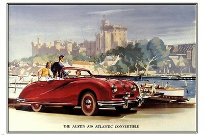 Austin Atlantic A90 CONVERTIBLE CAR poster 1948-51 Sporty RED retro 24X36