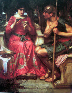 Oil-painting-Waterhouse-Fairy-girl-with-Samurai-Jason-and-Medea-canvas-36-034