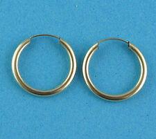 New Ladies 9ct Yellow Gold Sleeper Hoop Earrings 20mm x 1.5mm Hallmarked (e h)