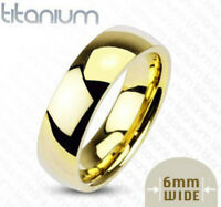 Gold Ip Solid Titanium 6mm Wide Glossy Mirror Polished Traditional Wedding Band