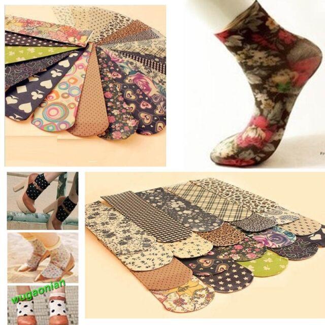 6 Pairs Beauty Colorful  Vintage Printing Floral  Stockings Ankle Socks Hosiery